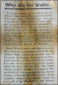 German propaganda leaflets were fired over the Allied troops