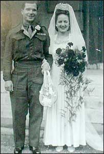 Joan and Bob Hughes on their wedding day