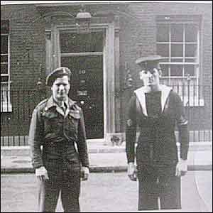 Bob and his brother in law Tom Gregg posing outside Number 10 Downing Street