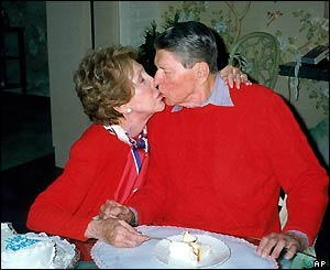 Nancy and Ronald Reagan on his 89th birthday