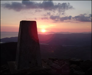 The trig point at the summit of Cadair Idris at sunset last weekend, from Chris Wright in Aberystwyth.