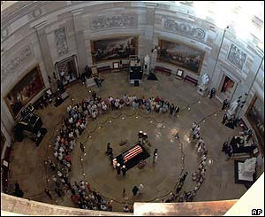 The casket in the Capitol Rotunda, seen from above.
