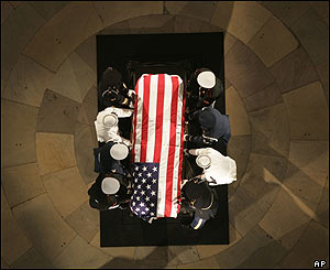 The flag-draped casket is placed in the centre of the rotunda at the US Capitol in Washington