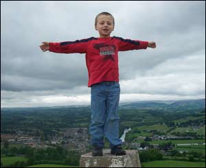Christopher Evans' son Daniel on top of Garth Hill which overlooks Builth Wells