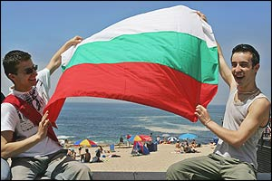 Two Bulgarian fans enjoy the Portuguese sunshine