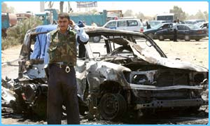 A guard at the scene of the bombing