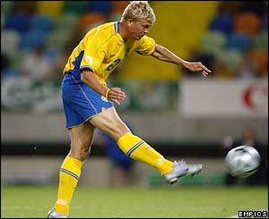 Sweden's Marcus Allback seals the match with a fifth goal