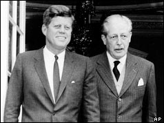 President Kennedy and Harold Macmillan meet in England in 1963