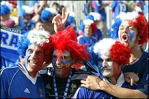 The French fans look confident before the match