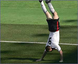 Rooney springs into a cartwheel celebration - will this become his trademark?