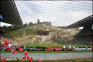 Braga's unique stadium which was blasted out of the rockface starts to fill up with Danish and Bulgarian fans
