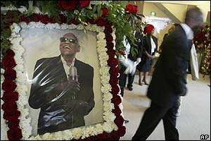 Photo of Ray Charles at his funeral