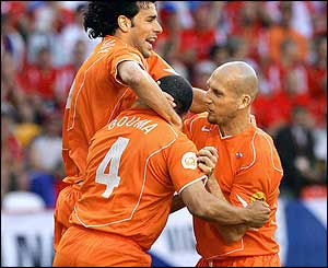 Wilfred Bouma is congratulated after giving Holland the lead in the third minute