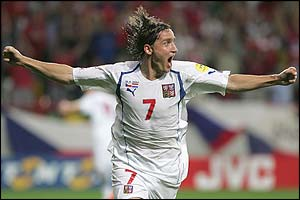 Vladimir Smicer celebrates scoring the winner for the Czech Republic