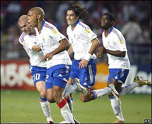 Thierry Henry scores France's second