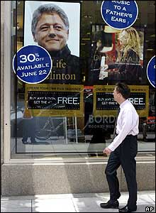 Poster advertising Clinton's book at a shop in Washington