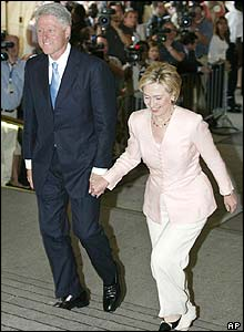 Bill Clinton and his wife Senator Hillary Rodham Clinton arrive at the Metropolitan Museum of Art