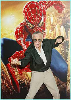 Spider-Man creator Stan Lee copies Spidey's pose for the cameras.