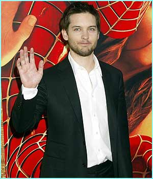 My Spidey sense is tingling... Spider-Man himself Tobey Maguire waves to the crowd as he arrives for the US premiere of his film