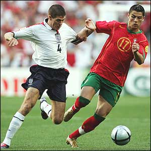 Steven Gerrard closes down Portugal youngster Ronaldo