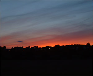 The sunset over Cardiff, sent in by Kevin Dwyer from Llandaff North