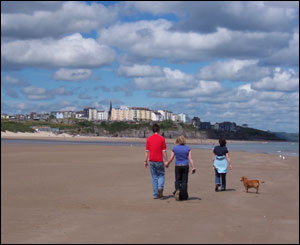 Gareth, Donna and Rebecca take Pepe the dog for a walk on Tenby's South Beach (Glen Donnachie)