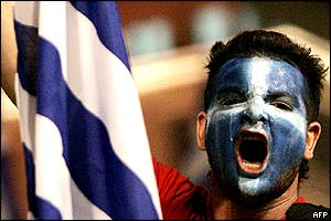 Greek football fan in Athens