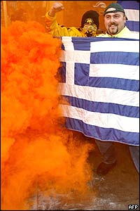 Greek football fans in Melbourne, Australia