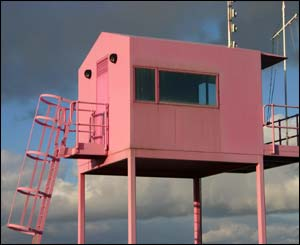 The pink lookout at Cardiff Bay Barrage (Helen Cullen)