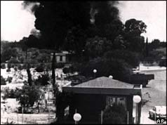 Smoke rising from houses in Nicosia