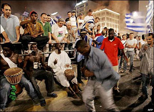 Foreigners living in Greece celebrate in downtown Athens