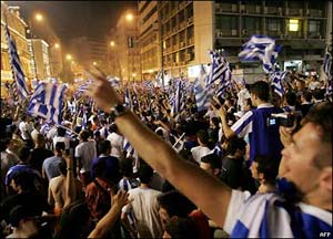 Central Athens comes to a standstill as fans celebrate the historic victory