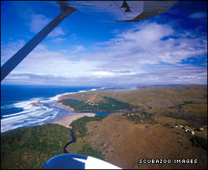 View of the Wild Coast from a microlight