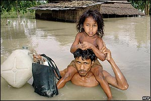 Father daughter escape floods in Assam