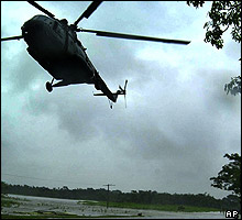 Flood relief helicopter in India