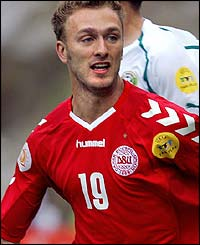 Dennis Rommedahl in action for Denmark