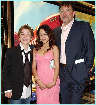 Director Jonathan Frakes stands with Soren Fulton, who plays Fermat and Vanessa Anne Hodges, who's Tin-Tin