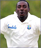 West Indies left-armer Pedro Collins celebrates taking a wicket