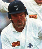 Mike Gatting is bowled by Shane Warne in the first Ashes Test of 1993