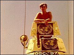 Tony Hart in his tank in Cyprus