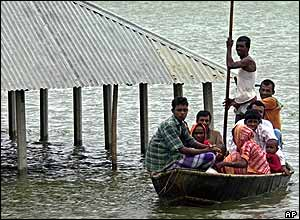 Bangladeshi flood victims in Bogra district