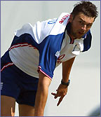 Steve Harmison bowls for England during a training session