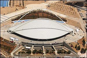 An aerial view of the Olympic velodrome in Athens, photographed on 20 July