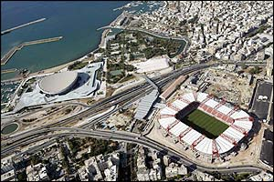 The Karaskaiki football stadium and the Peace and Friendship closed stadium at the Faliro Sports Complex