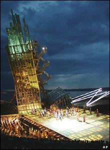 A dress rehearsal for West Side Story by Leonard Bernstein on the floating stage, Lake Constance, Austria