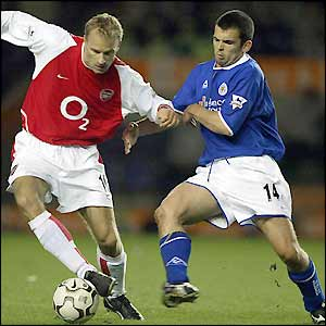 Callum Davidson attempts to tackle Arsenal's Dennis Bergkamp