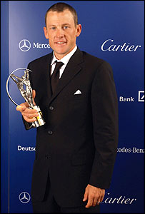 Lance wins an award at the Laureus World Sports Awards Ceremony