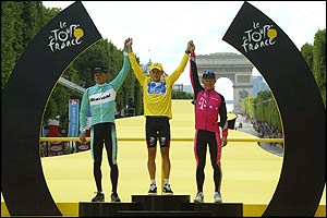 Lance Armstrong on the podium in Paris