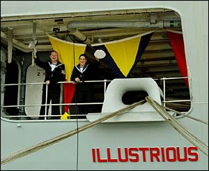 Crew on board HMS Illustrious