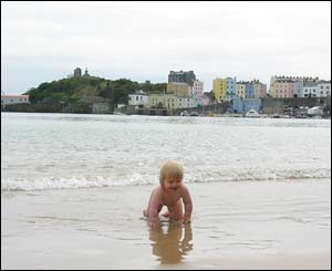 Jim Young's granddaughter Caitlyn on the beach at Tenby